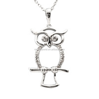 925 Sterling Silver Diamond Owl Critter pendant Necklace