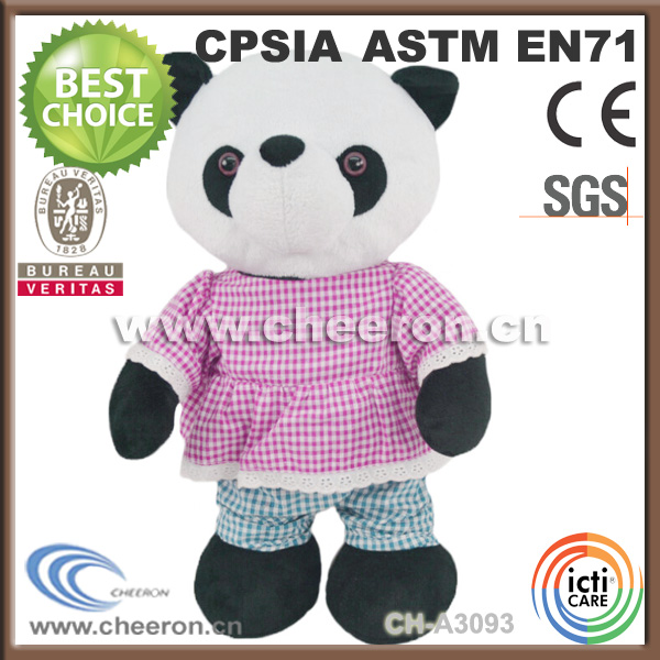Custom walking soft plush panda toys with pink coat