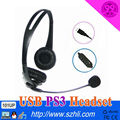 Pop PC Headset 101UP with USB Plug Headphone with USB line control Volume +/- function Support PS3