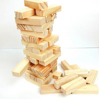 48pcs pine wood Blocks Stacked layers Piles high Child and Family Board Games Educational Toys
