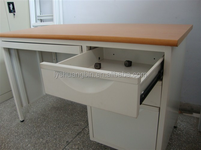Luoyang factory steel office computer desk/Wooden top with steel frame