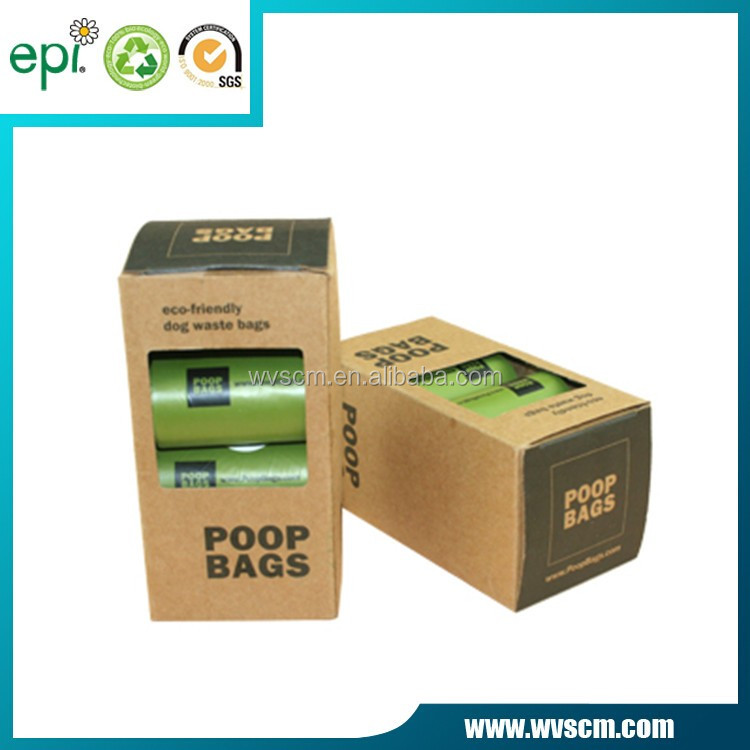 Biodegradable customized plastic dog poop bag on roll with printing