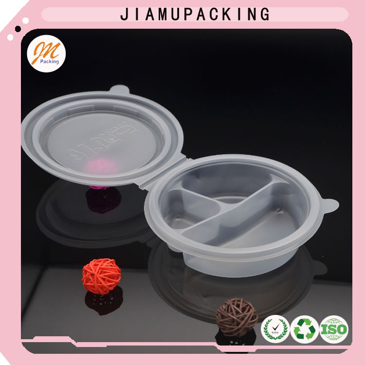 plastic PP original color take away food container, eco-friendly plastic PP blister food tray with cover