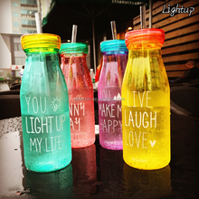 Clear body and coating body plastic soda bottle milk bottle with straw