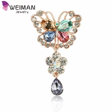 Weiman Jewelry New Arrival Korean Crystal Butterfly Dangle Brooch for Wedding