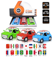 3 Colors Mixed 1:38 Mini Vintage Car Pull Back Die Cast Car Toy Can Open Two Doors BT-017516