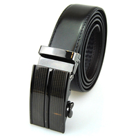 Alloy automatic buckle black leather automatic ratchet men belt , automatic buckle belt