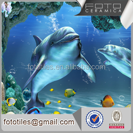 China factory seaworld dolphin picture porcelain wall and Inkjet wallpapers 3d
