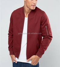 China Factory Custom Fashionable Zipper Jacket Satin Plain Men Silk Bomber Jackets