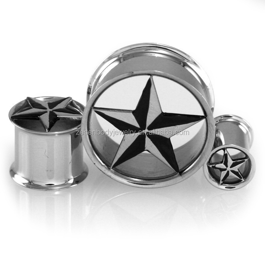 Nautical Star Double Flare Ear Plugs Gauge Expander Body Piercing Jewelry