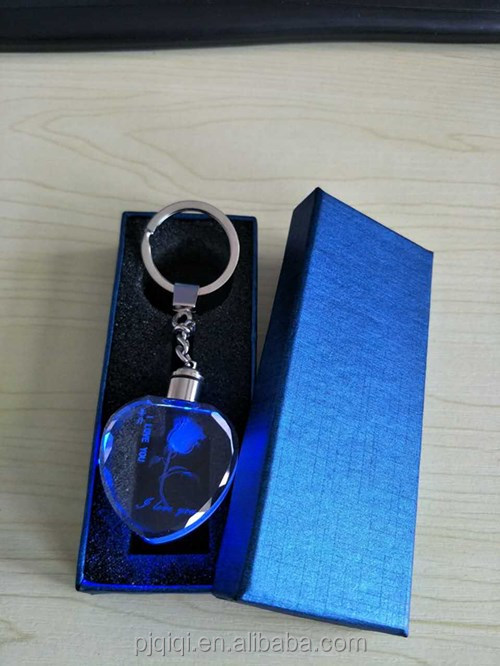 Heart Shape led Crystal Keychain for Wedding Favors and Love Gifts