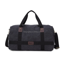 Canvas Weekend Travel Bag With Genuine Leather Trim And Webbing Strap For Men