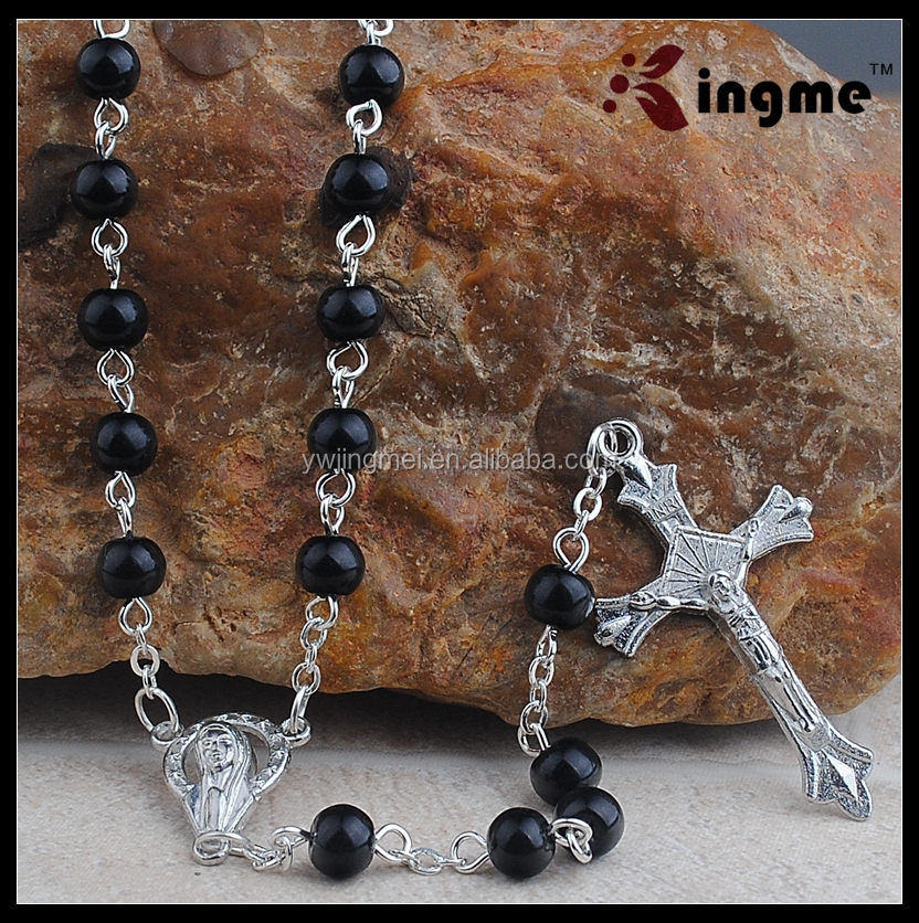 Mens Catholic Gift 6MM Black Glass Bead with Hail Mary Center Piece Rosary Necklace