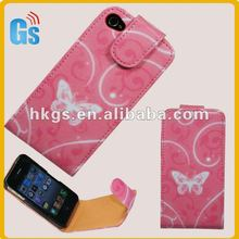 Pink Butterfly/Flowers Flip Leather Case Cover for Apple IPHONE4G 4S