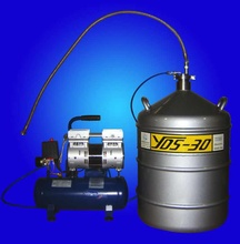 Foot pump to transfer liquid nitrogen for 50mm neck diameter container