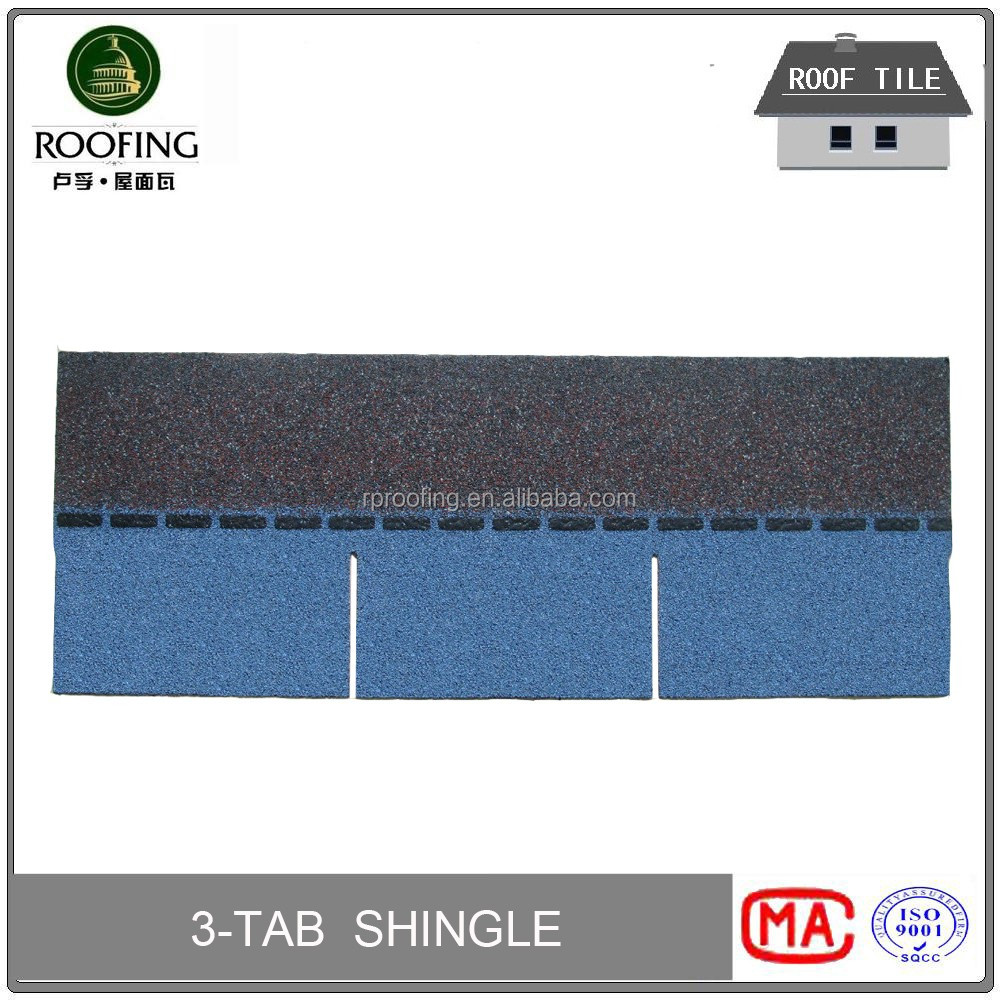 New design 3-Tab cheap roofing materials,colored asphalt roofing shingles with high quality