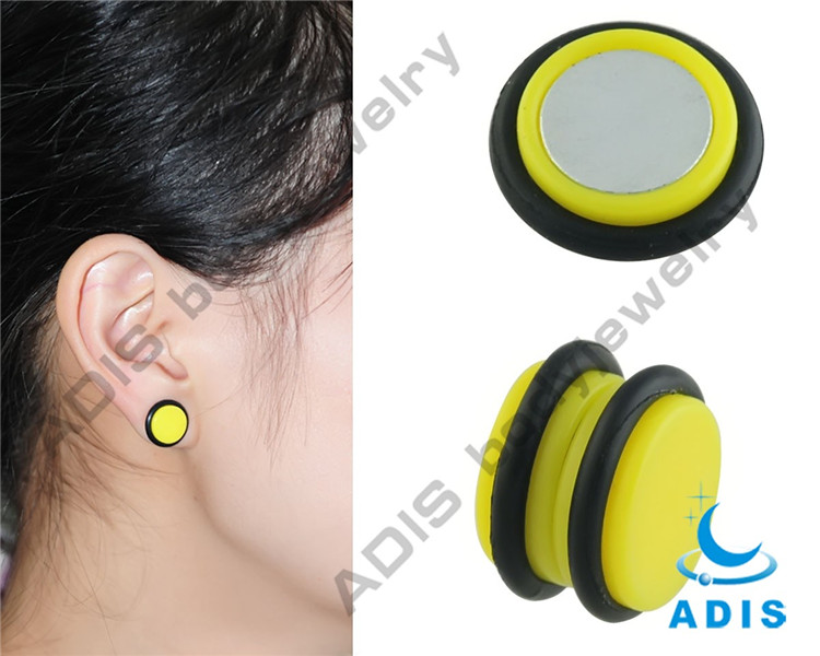 Arylic yellow Non-piercing Magnetic Ear Studs fake ear piercing rings