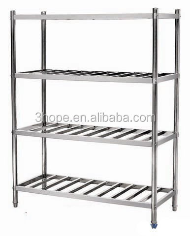 Kitchen stainless steel cabinet shelves/Stainless Steel Wire Kitchen Rack - AISI 201, 4 Tiers, L 1500 mm