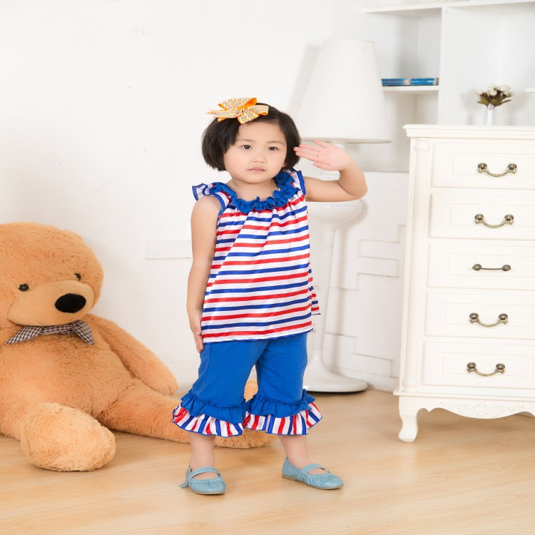 2015 Summer Latest Design Kids Clothes childrens big flower Outfit baby Girls Patriotic Clothing