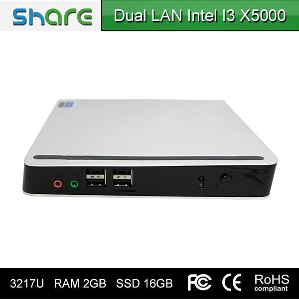 wholesales in Shenzhen i3 mini computer 2 lan with aluminum alloy case