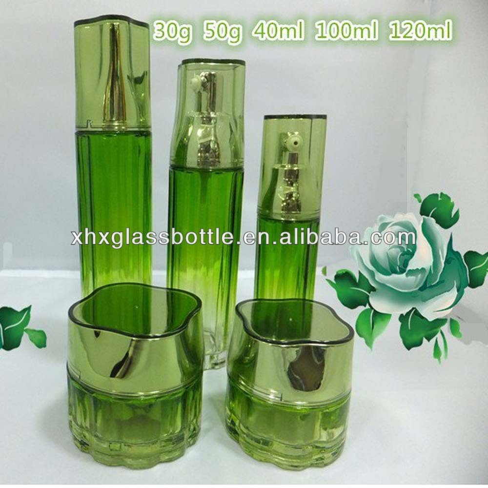 wholesale green color coated flower cream jar 120ml clear cosmetic skin care bottle