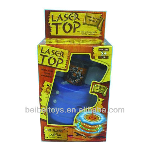 Kids Plastic Toy Spinning Tops with Laser, Flashing Light and Music
