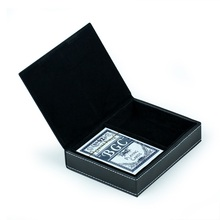 Black leather playing card holder for 2 decks of playing cards