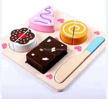 Cutting cake desserts wooden toy set for education,Funny DIY kitchen toys,Cutting desserts wooden toys