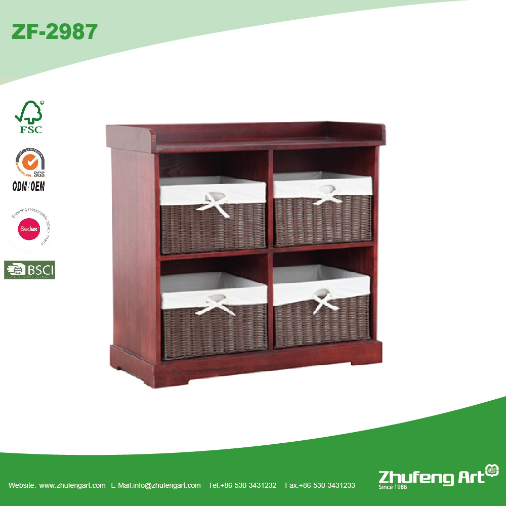 Factory Cheap Antique Brown Solid Wooden Storage Cabinet with Wicker Basket Drawer in New Design