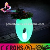 2015 glowing outdoor waterproof wireless garden rgb color changing magic illuminated led light flower pot with remote control