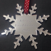 Silver Mirror Snowflake Acrylic Christmas Decoration Tree Ornaments Supplies Type Craft Christmas Ornament With Names Wholesale
