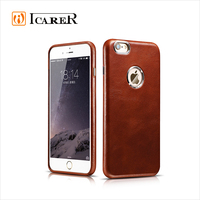 ICARER Genuine Leather Mobile Phone Case for iPhone 6 6S Plus, Luxury Leather Back Cover