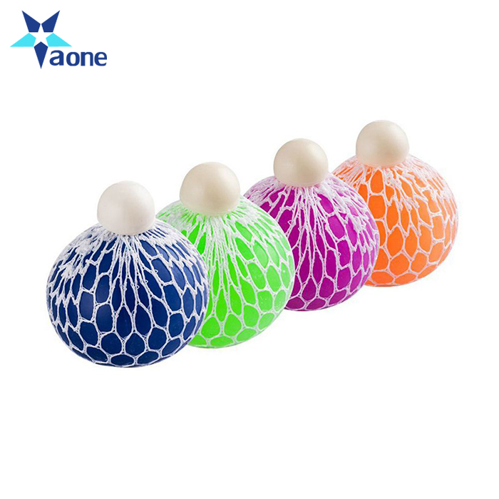Hot Sales Grape Stress Relief Squeezing Hand Wrist Toy Mesh Squishy Ball Tpr Squishy Mesh Stress Squeeze Grape Ball