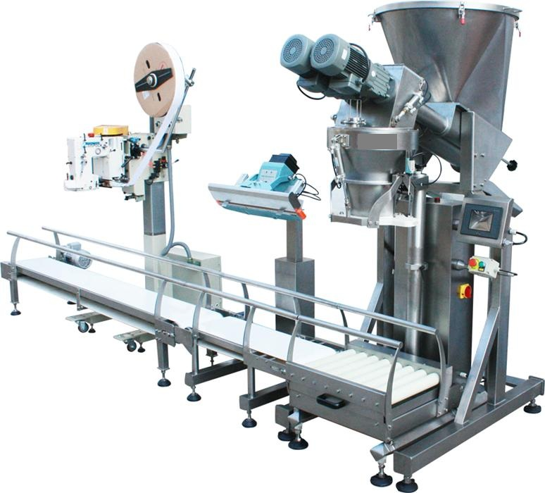 Open mouth bag filling and bagging line