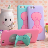 Silicon Mobile Phone cover with Cute Butterfly Bow Stand Holder Cartoon Mobile Phone Case for iphone 6/6S