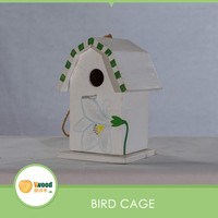 Colorful wood bird cage with round roof