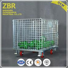 Plastic stackable wire mesh pallet cage containers for storage