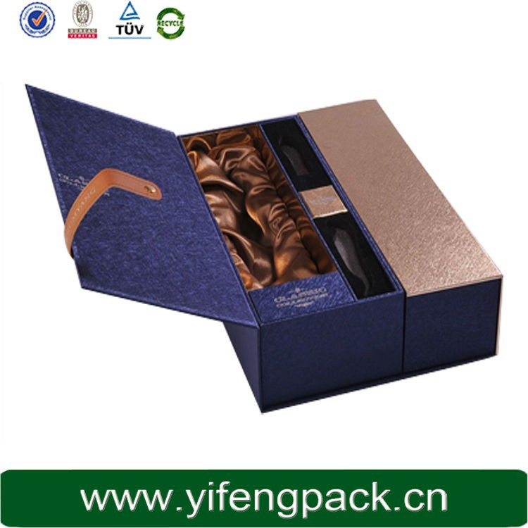 China supplier luxury removable top box drawer and folding wine box with removable shelf