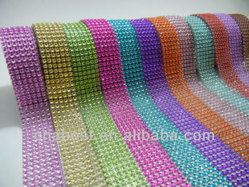 Customized 6 lines Decorative Crystal Plastic Rhinestone Mesh