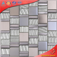 HD13 Warm Color Color Coated Metal Roofing Tile Glass Mix Stone And Stainless Steel Mosaic Metal Mosaic Tile