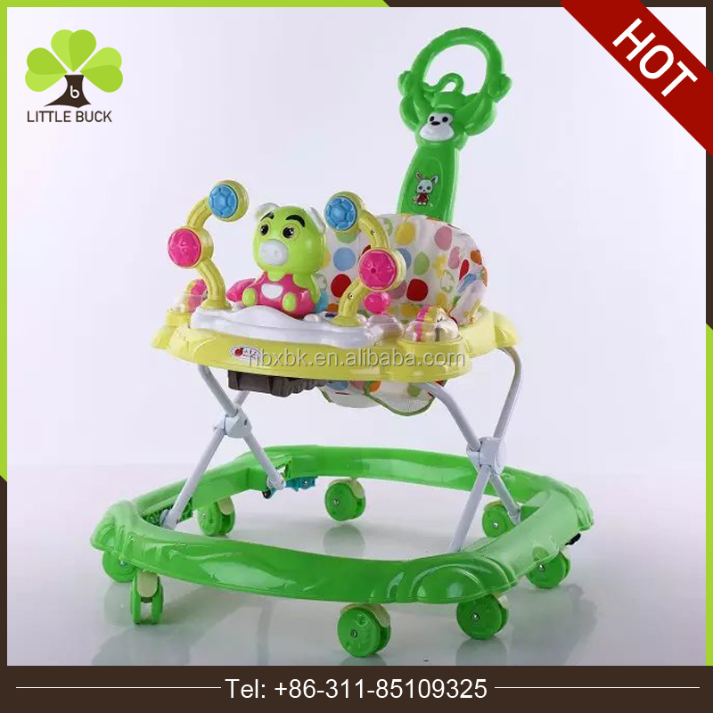 Cheap Plastic Round pusher baby walker with 8 rubber wheels adjustable baby carrier walker