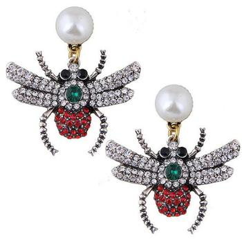 pearl stud earrings jewelry wholesale fashion insect earrings animal