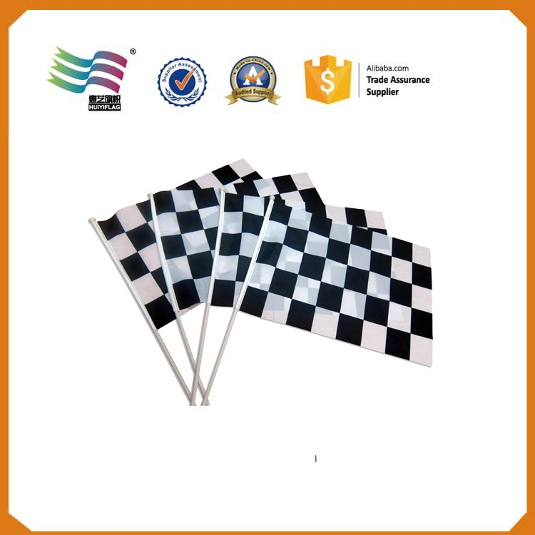 black white checkered promotional hand flags