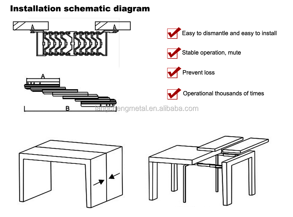 Aluminium Alloy Section folding Table Slide(table extension mechanism)