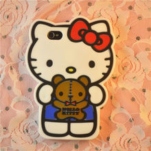 new design soft silicone cell phone cover cute cartoon 3D Hello Kitty with bear case for iphone 4