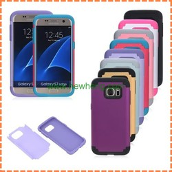 Hot selling 2In1 Dual Color PC Silicon Dual Layer Phone Case For Samsung Galaxy S7