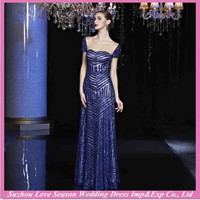 MPTC005 Gorgeous shinny beaded sequins patterns bodice cap sleeve A-ine long blue long new bandage dress 2015 evening gown