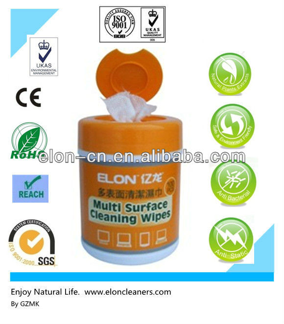 Natural anti-static screen cleaning wet tissue packed in canister with OEM package