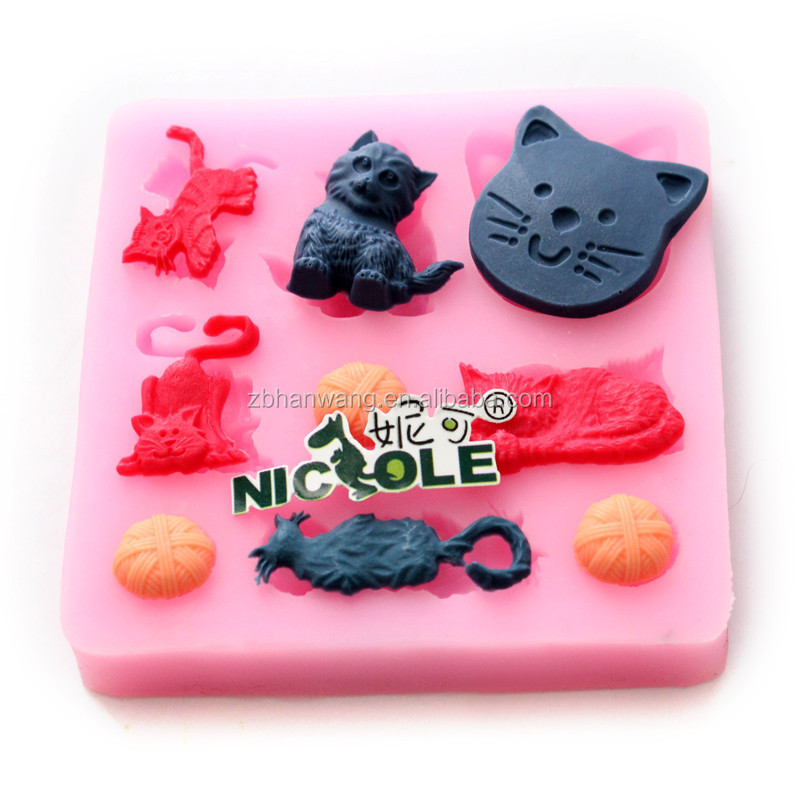 Nicole F0617 Small Size Cat Animal Silicone Molds For Fondant Cake Decoration Kids DIY Tools