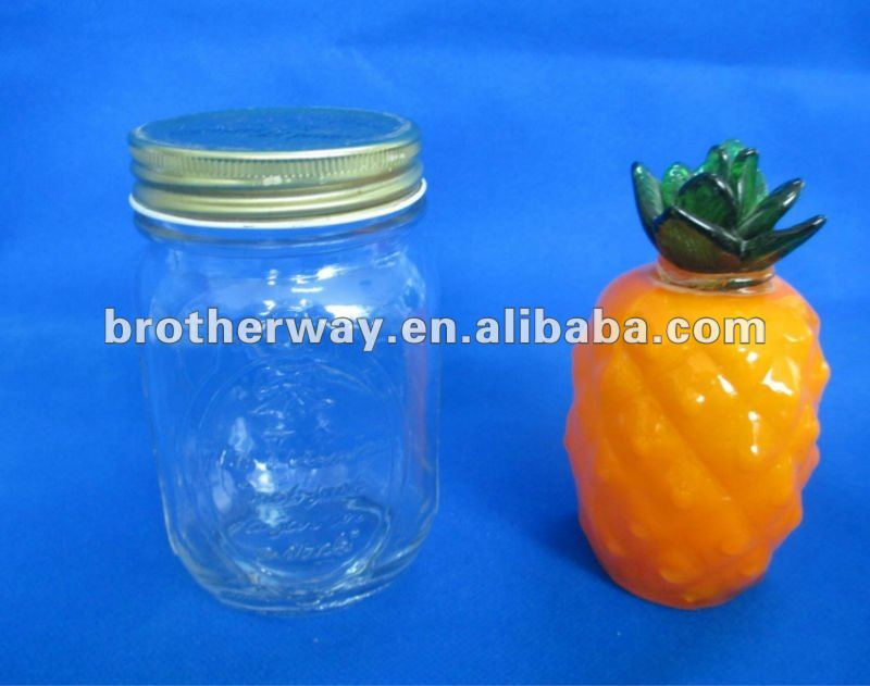 16oz glass mason jars with silver metal cap seal
